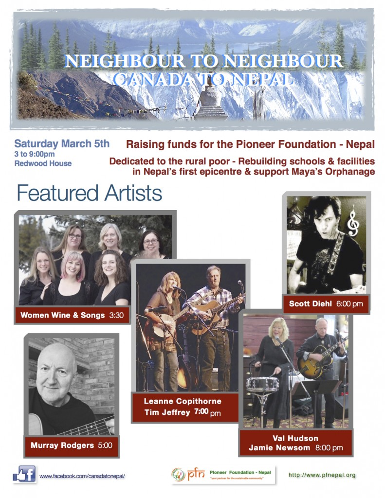 Neighbor to Neighbor poster - march 5, 2016 - musicians
