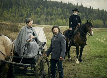 Mackenzie Porter as Naomi, Anson Mount as Cullen Bohannan and Christopher Heyerdahl as The Swede - Hell On Wheels _ Season 4, Gallery - Photo Credit: James Minchin III/AMC