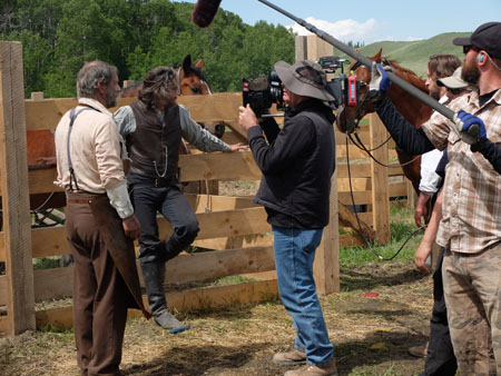 Cullen Bohannon (Anson Mount) and Mickey McGinnes (Philip Burke) - Hell on Wheels _ Season 3, Episode 5 _ BTS - Photo Credit: Chris Mundy Large/AMC